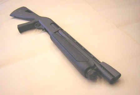 POINT MAN (Remington 870) with 14 inch barrel, Speedfeed pistol grip stock, porting, and ghost ring front sight.JPG (33813 bytes)